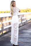 Lace V-neck Sleeveless Transparent Split Long Party Dress
