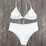 White Embroidery Floral High Waist Bikini