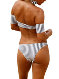 Monochrome Stripe Off Shoulder Short Sleeve Bikini Top And Bottom