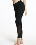 Active Midum Waist Fishnet Mesh Contrast Leggings