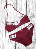 Burgundy Halter Lace Panel Bikini Top And Bottom Bikini Set