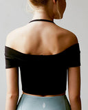 Off Shoulder Short Sleeves Crop Tee