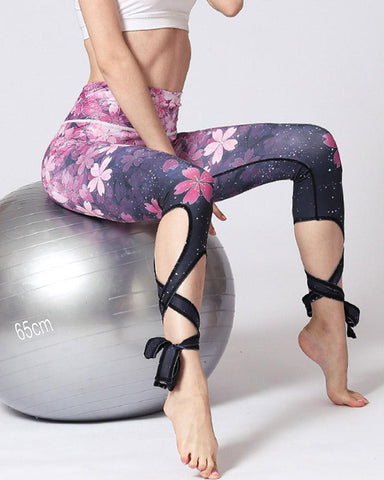 Active Floral Print Lace Up Leggings