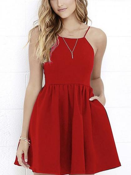 Red Spaghetti Strap Backless Skater Party Mini Dress