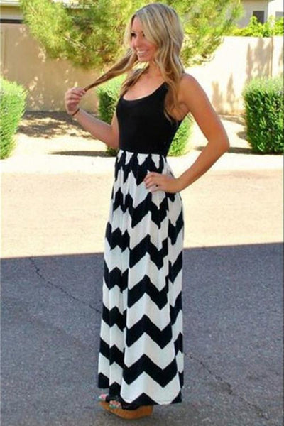 Black White Chevron Print Long Maxi Dress