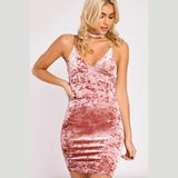 V-neck Pure Color Sleeveless Stripe Short Sexy Dress