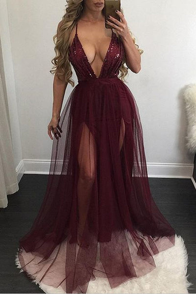 Spaghetti Straps Pure Color V-neck Backless Long Dress