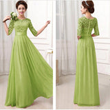 Lace Chiffon Patchwork High Waist Half Sleeves Long Party Dress