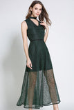 V-neck Pure Color Lace Long Dress