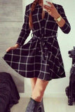 Black Tartan Plaid Long Sleeve Shirt Dress