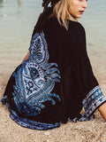 Tribe Print Half Sleeve Open Front Cover Up Kimono