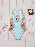 Deep V Neck Floral Print Bare Back Swimsuit