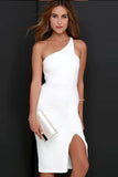 One Shoulder Slim Pure Color Split Knee-length Dress