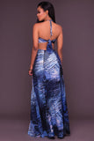 Strapless Cut Out Print Slipt Long Party Dress