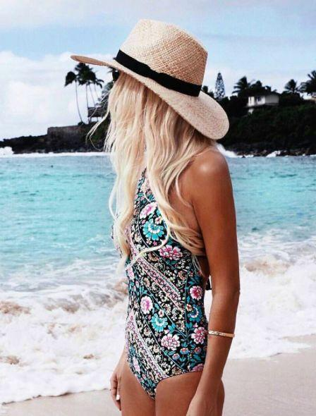 Vintage Floral One Piece Bathing Suits