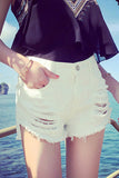 High Waist Pure Color Cut Hole Denim Shorts