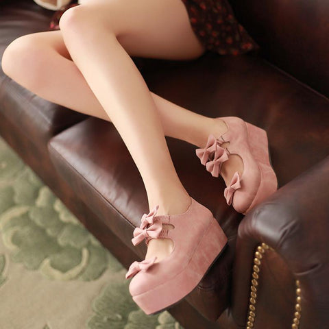 Sweet Bowknot Thick Bottom Princess Heels Shoes