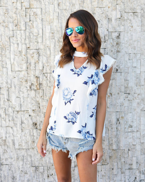 Halter Floral Printed Flounce Blouse
