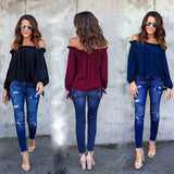Casual Off Shoulder Long Sleeve Chiffon Blouse