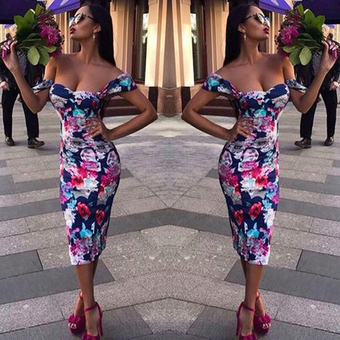 Flower Print Short Sleeves Off Shoulder Knee-length Slim Dress