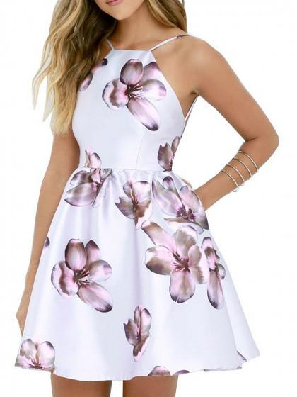 White Spaghetti Strap Floral Backless Flared Party Skater Mini Dress