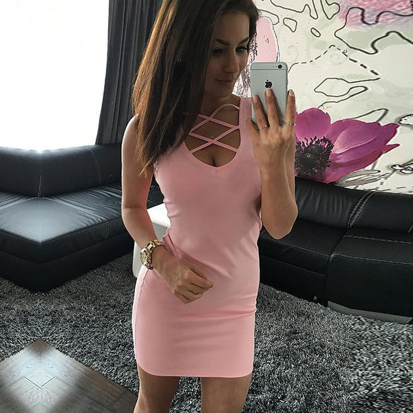 Sexy Pure Color O-neck Sleeveless Short Dress