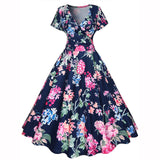 V-neck Floral Print Knee-length Dress