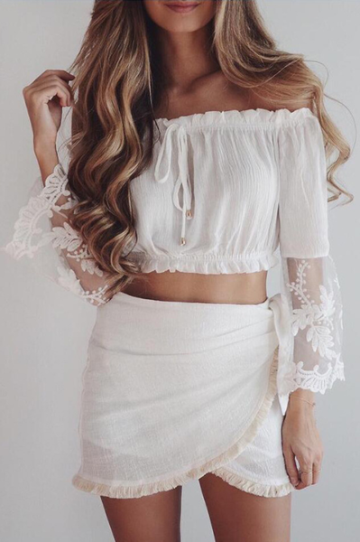 White Sheer Lace Sleeves Bandeau Top