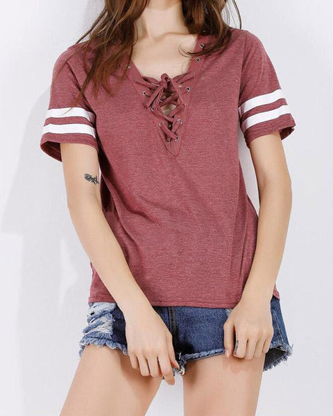 Striped Criss Cross Lace-up T-shirt