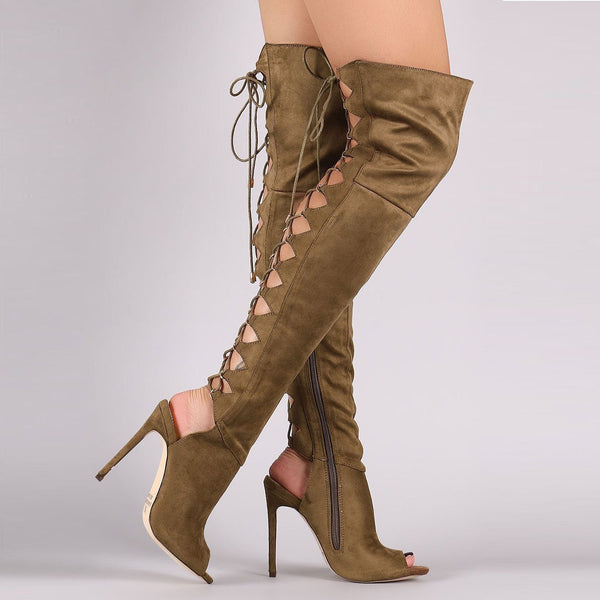 Back Lace Up Cut Out Peep Toe Over-knee Long Boot Sandals