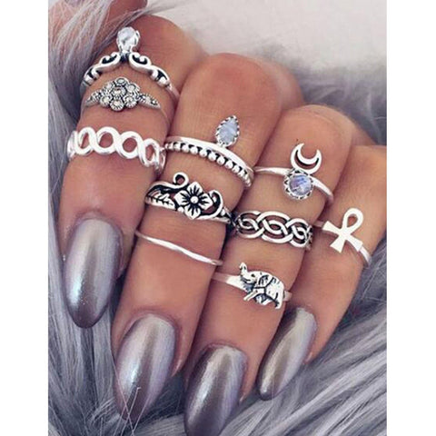 10pcs Vintage Knuckle Tribal Ethnic Stone Joint Ring