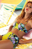 Yellow Floral Push Up High Waist Bikini