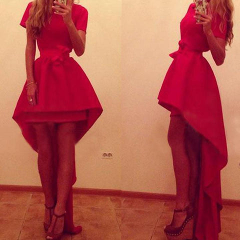 Asymmetric High Waist Short Sleeve Red Party Dress