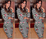 3/4 Sleeve Bodycon Knee-Length Printed Stripe Backless Dress
