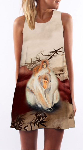 Monkey Print Sleeveless Shift Dress