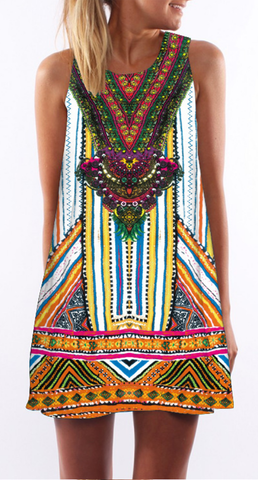 African Tribal Print Sleeveless Shift Dress