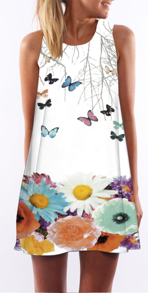 Give Me Butterfly Sleeveless Shift Dress