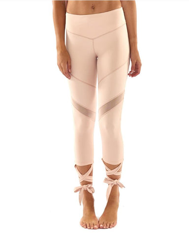 High Waist Mesh Contrast Lace-Up Leggings
