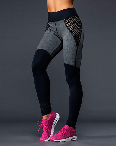 Active Fishnet Color Block Yoga Leggings