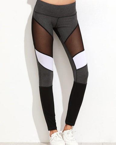 Active Color Block Mesh Contrast Leggings