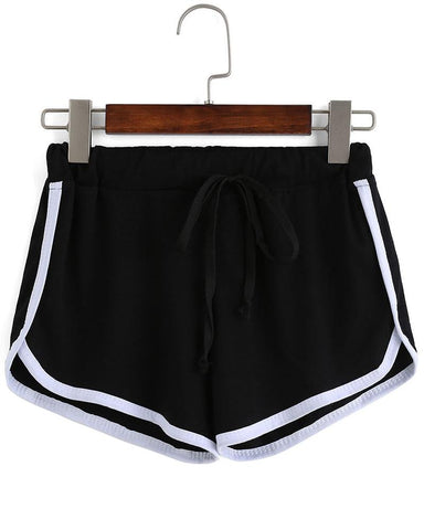 Active Striped Color Block Sports Shorts