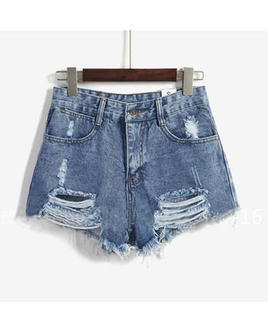Blue Distress Cuffed Denim Shorts