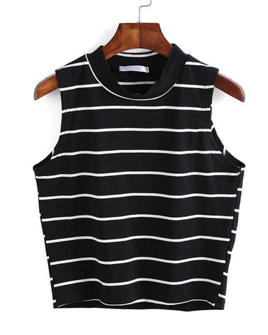 Basic Black and White Striped Cropped Tank Top