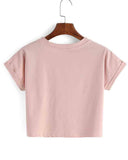 Pink Basic Slogan Print Cropped T-shirt