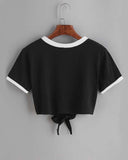 Casual Color Block Print Self Tie Lace Up Cropped T-shirt