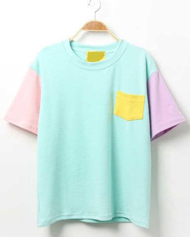 Casual Crew Neck Color Block Pocket T-shirt