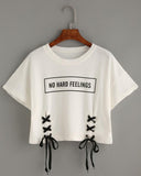 White Slogan Print Lace Up Cropped Tee
