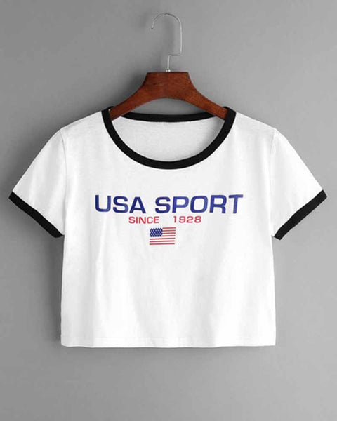 USA Slogan Print Contrast Trim Cropped Tee