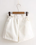 White Elastic Waist Rolled Hem Denim Shorts