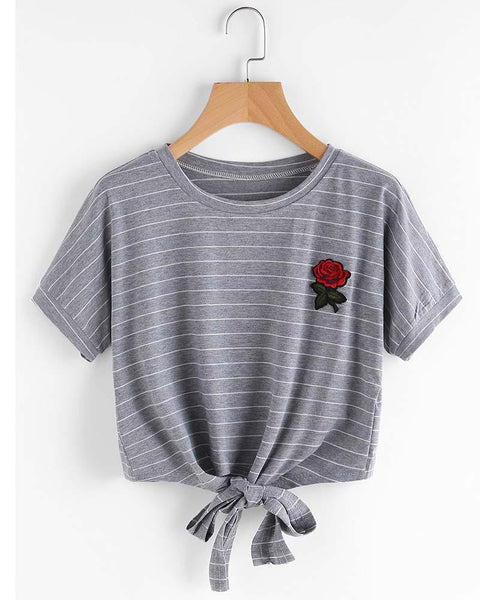 Stripe Print Floral Embroidered Lace Up T-shirt